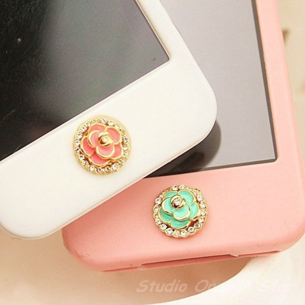 1PC Bling Crysta  Camellia Flower Apple iPhone Home Button Sticker for iPhone 4,4s,4g, iPhone 5, iPad, Cell Phone Charm, 2 Color Choice