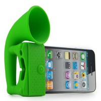 Meiego New Silicone Horn Stand Holder Audio Dock Amplifier Music Speaker for Iphone 4 4s 3gs Green