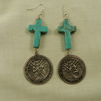 Turquoise Cross Dangling Religious Medal Earrings