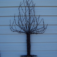 Wall Sculpture Christmas Tree Made From Recycled Barb Wire