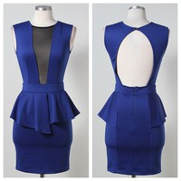 Ashton Blue Peplum Dress