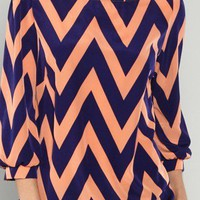 Chevron Top- Peach & Navy