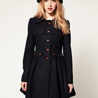 Dahlia | Dahlia Swing Coat With Textured Buttons at ASOS