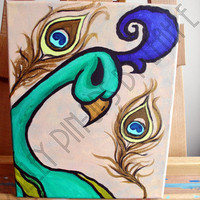 Peacock bird and feathers Painting acrylic by PaisleyPinupsbyLeahE