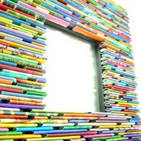 square mirror made from recycled magazines