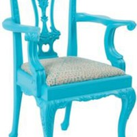 One Kings Lane - Jeannie Fraise, Lotus Bleu - Turquoise Chippendale Children's Chair