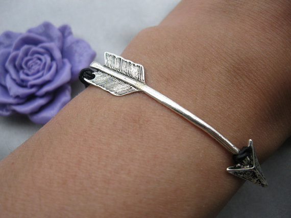 bracelet---ARROW, real leather arrow bracelet---Z218