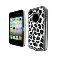 Amazon.com: GNWE Luxury Unique Best Leopard Print Czech Rhinestone Case Cover for Apple Iphone 4 4g Crystal - Black: Cell Phones & Accessories