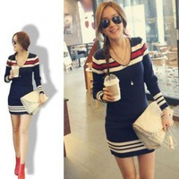 Women Casual V-Neck Sweater Coat Long Sleeve Tunic T-Shirt Knit dress Tops