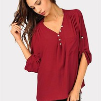Cinnamon Twist Blouse - Burgundy at Necessary Clothing