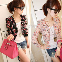 Women Fashion Long Sleeve Floral Print Shrug Short Jacket Chiffon Top 3 Colors