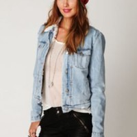 IRO Denim Sherpa Jacket at Free People Clothing Boutique