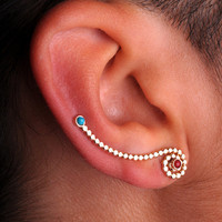 EAR / CUFF / Wrap / ear climber 14K yellow gold filled / genuine turquoise and red coral - one only
