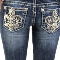 Miss Me studded fleur di lis bootcut jeans - up to size 34 (30)