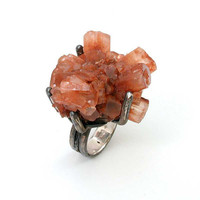 Aragonite Rock Ring Sterling Silver Cocktail by SwankMetalsmithing