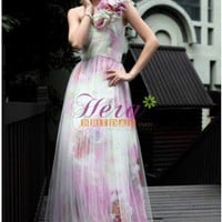 Hazy Column/Sheath Floral One Shoulder Sweetheart Floor Length Printed Evening Dress