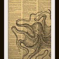 Octopus Art Print on Vintage Dictionary Page by UniqueArtPendants