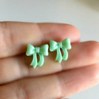 Mint Green Bow Earrings