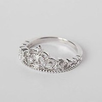 Elegant Silver Crown Ring from http://www.looback.com/