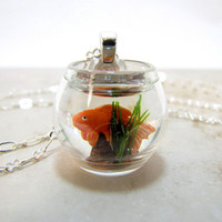 Goldfish Bowl Necklace Pet Gold Fish On The Go by CuteAbility