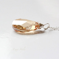 Pendant with Chain, Sterling Silver Necklace, Swarovski Citrine Pendant, Wire wrapped Jewelry, Luxe Style
