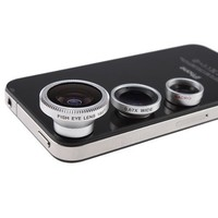 3 in 1 Camera Lens Kit Designed for Apple iPhone 4 4S iPad (Fish Eye Lens, Wide Angle + Micro Lens)