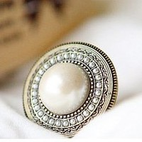 Vintage Adjustable Bohemian Round White Pearl cocktail Ring at Online Cheap Fashion Jewelry Store Gofavor