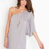 Asymmetric Flare Dress - Dove Gray in  What's New at Nasty Gal