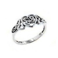 Sterling Silver Celtic Trinity Knot Heart Ring Size 7(Sizes 3,4,5,6,7,8,9,10,11,12,13,14,15)