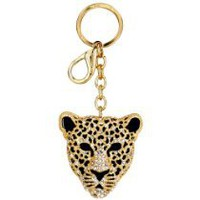 Chick&Stylish - Gold Leopard Mask Crystals Rhinestone Handbag Purse Charm / Key Chain Keyring Holder