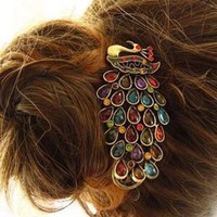 Amazon.com: Lovely Vintage Jewelry Crystal Peacock Hair Clip: Beauty