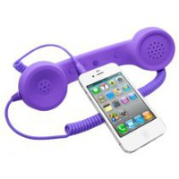 Cool Stuff - Universal MiniSuit Retro Headset/Handset Ear phone for iPhone, iPad, Blackberry, and Androids - Soft Touch - Purple