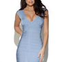 Light Blue Sleeveless Bandage Dress with Plunging V-Neck