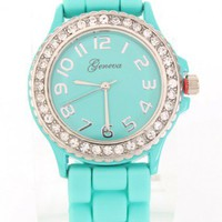 Mint Round Face Rhinestone Trim Soft Rubber Finish Wrist Watch @ Amiclubwear Women&#x27;s Watch Online Store:bracelet watch,waterproof timepiece watch,fashion watches,watches,silver watches,women&#x27;s watches,watch ladies,ladies watches,watches for sale,watches f