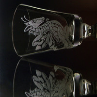 Small dragon fairy cordial glass, hand engraved glassware, single clear mini glass