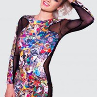 Multi Color Alice in Wonderland Print Mini Tunic Dress