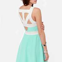 Day Snipper Cutout Mint Blue Dress