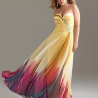 Yellow &amp; Fuchsia Ombre Chiffon Strapless Sweetheart Empire Waist Prom Dress - Unique Vintage