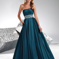 SALE! FLIRT by Maggie Sottero Prom Dresses-Sapphire Taffeta Jeweled Strapless Corset Gown - Unique Vintage