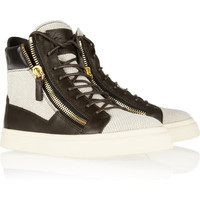 Giuseppe Zanotti|Leather-trimmed woven high-top sneakers|NET-A-PORTER.COM