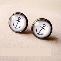 A Pair of Vintage Anchor Hooks Ear Studs Earrings Type B