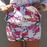 Pink Cherry Blossom Print Mini Peplum Skirt
