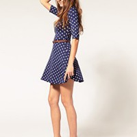ASOS | ASOS Skater Dress In Spot Print With Belt at ASOS