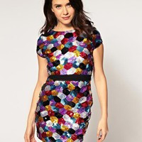 Lipsy | Lipsy Shift Dress With All Over Sequins at ASOS