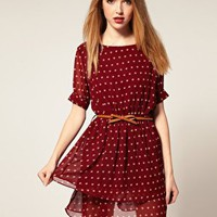 Dahlia | Dahlia Chiffon Tiered Dress in Spot Print at ASOS