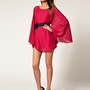 Paprika | Paprika Bow Belt Chiffon Dress at ASOS