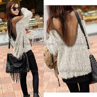 Womens Vintage See through Open Back Mesh Sequins Batwing Pullover Jumper Tops
