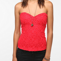 Pins and Needles Lace Zip Back Strapless Top