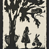 Alice in Wonderland HandCut Silhouette Papercut by tinatarnoff