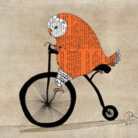 Orange owl vintage bike Giclee Art Print Limited by OrangeOptimist